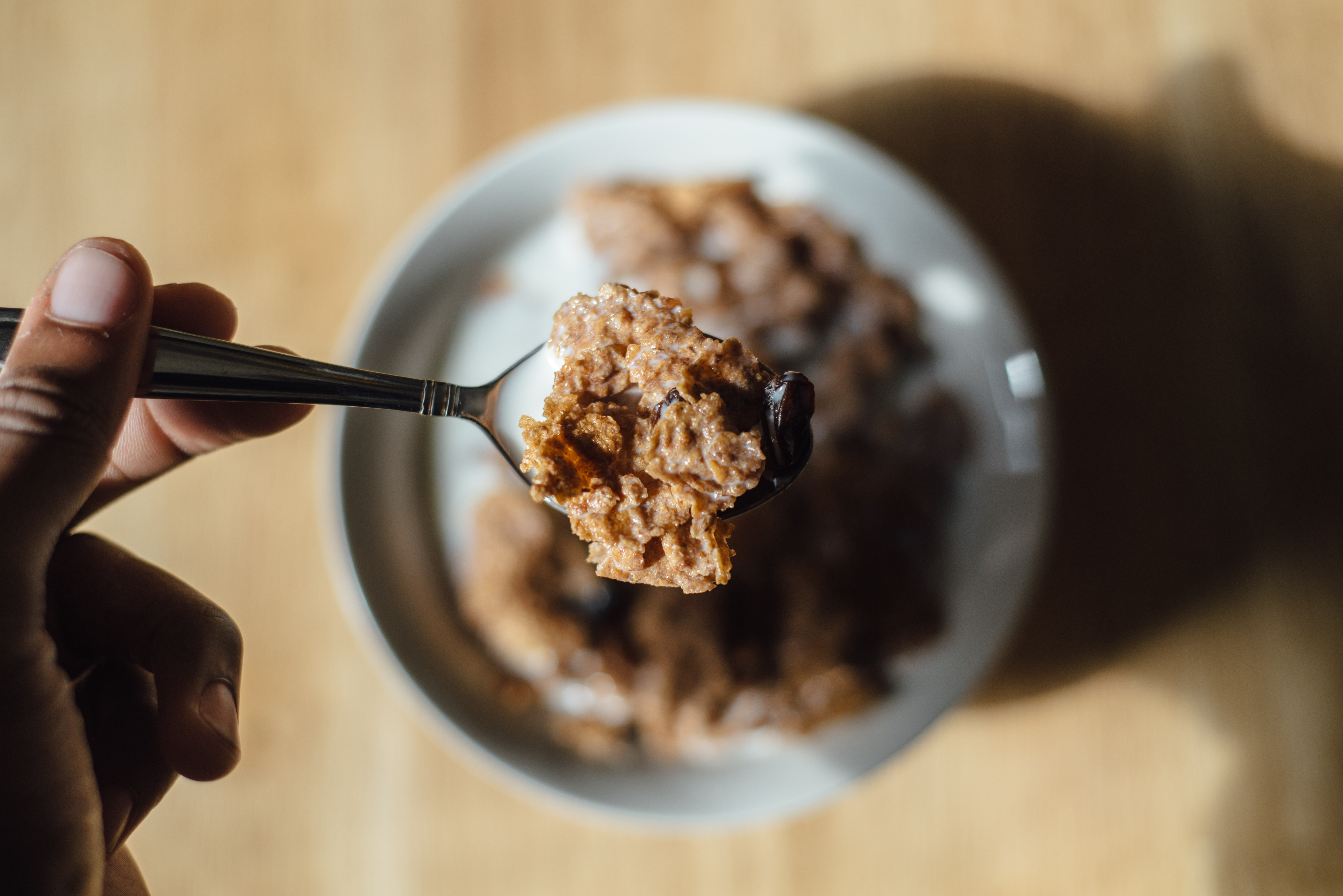 cereal, oatmeal on a spoon